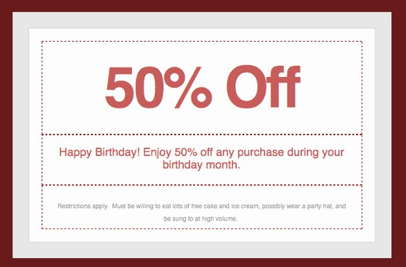 Birthday Coupons Template Best Of 28 Homemade Coupon Templates – Free Sample Example