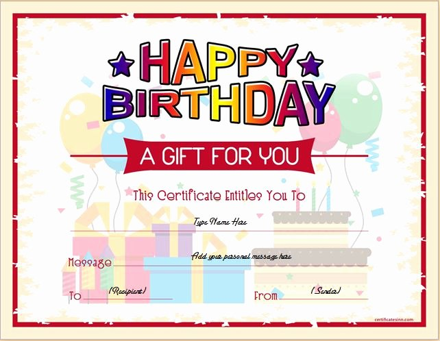 Birthday Coupons Template Fresh Birthday Gift Certificate Sample Templates for Word