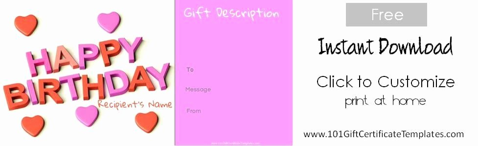 Birthday Coupons Template Inspirational Free Birthday Gift Certificate Template