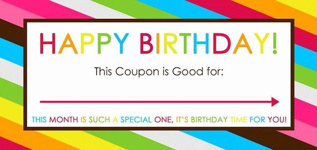 Birthday Coupons Template Inspirational Free Printable Birthday Coupons
