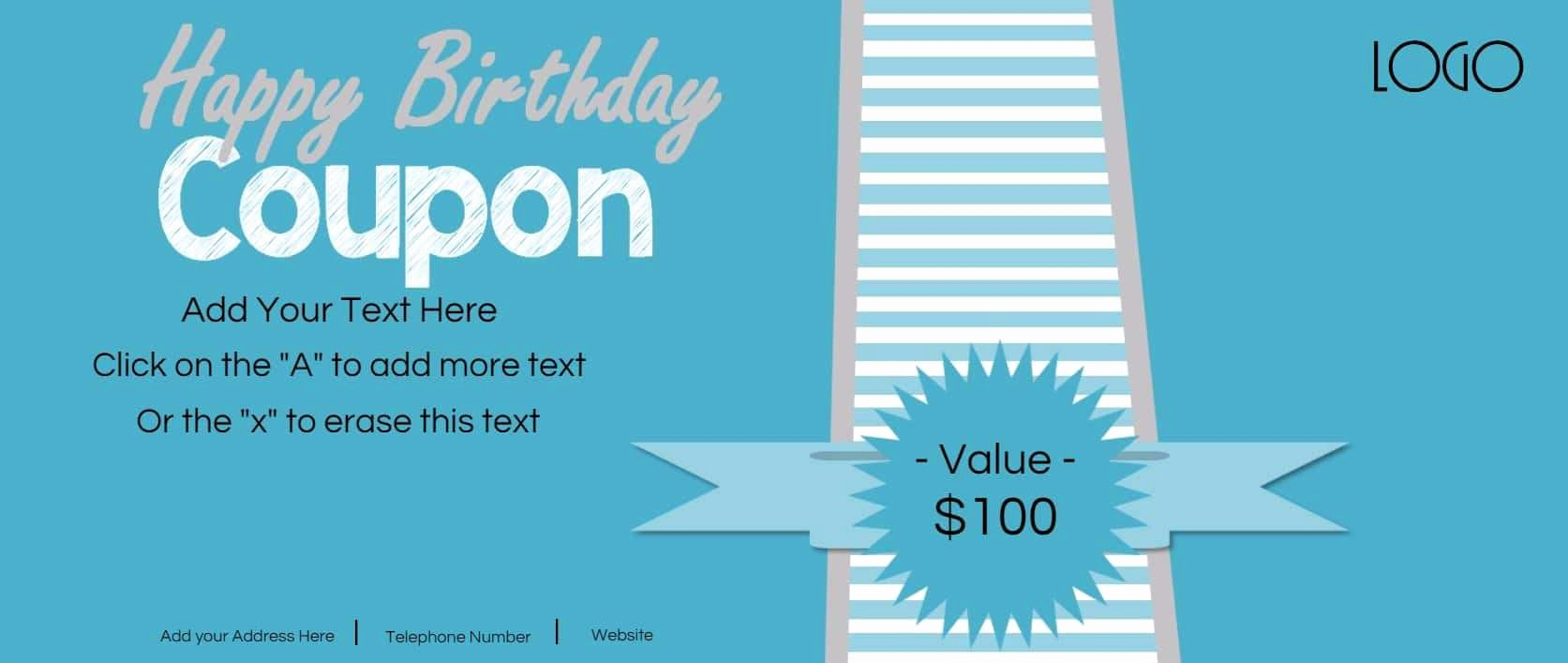 Birthday Coupons Template New Free Custom Birthday Coupons Customize Line & Print at