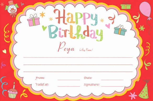 Birthday Coupons Template Unique 23 Birthday Certificate Templates Psd Eps In Design