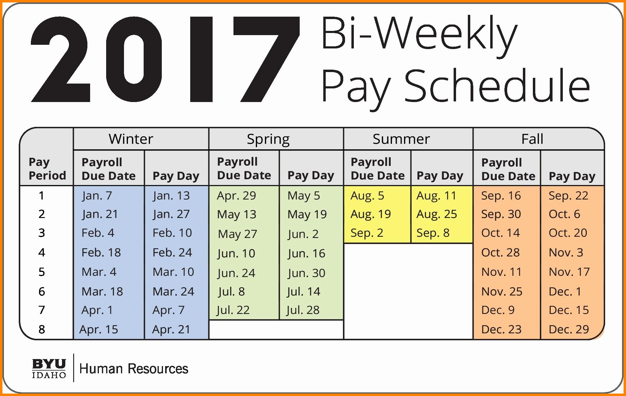 Biweekly Payroll Calendar Template 2017 Beautiful 7 Bi Weekly Payroll Calendar