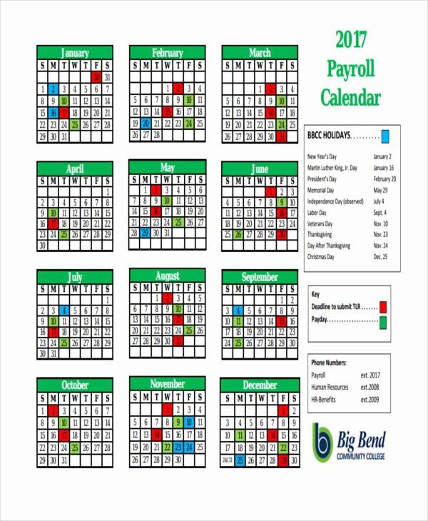 Biweekly Payroll Calendar Template 2017 Beautiful 7 Payroll Calendar Templates Sample Example