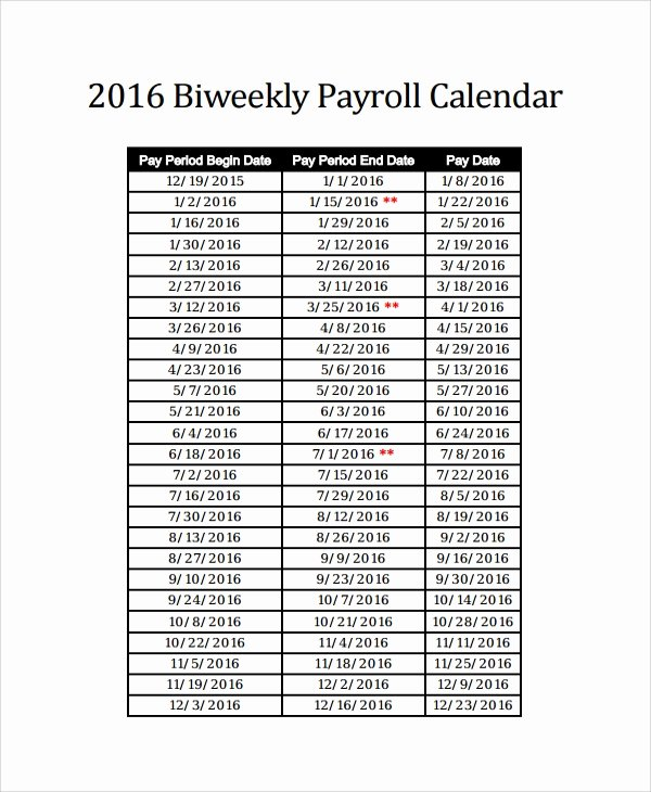 Biweekly Payroll Calendar Template 2017 Inspirational 10 Payroll Calendar Templates