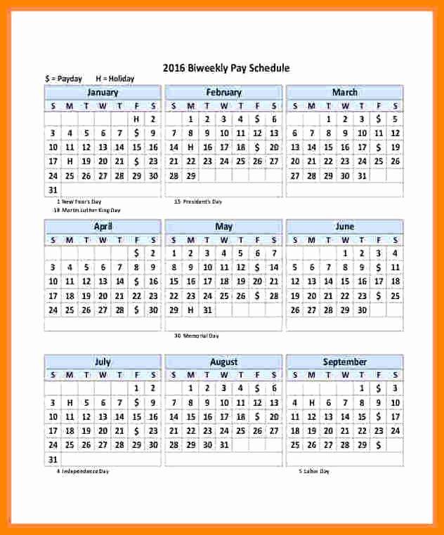 Biweekly Payroll Calendar Template 2019 New 14 Payroll Calendar Bi Weekly 2018