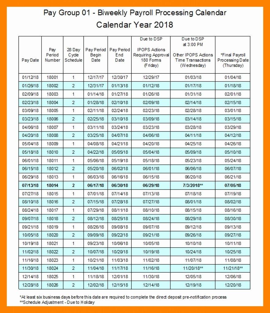 Biweekly Payroll Calendar Template 2019 Unique Bi Weekly Payroll Calendar 2018 Excel