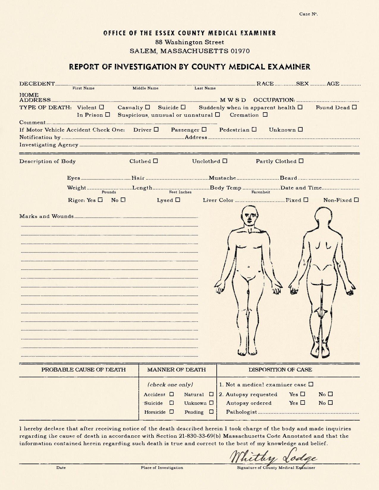 Blank Autopsy Report Template Unique Realistic Blank Police Report Autopsy Report