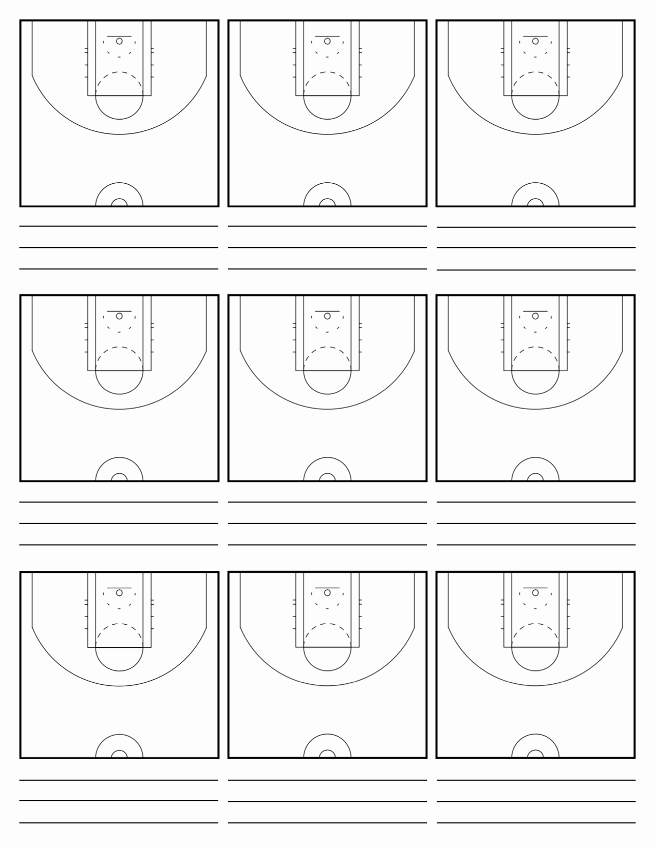 Blank Basketball Practice Plan Template Awesome 7 Best Of Basketball Court Diagrams for Plays