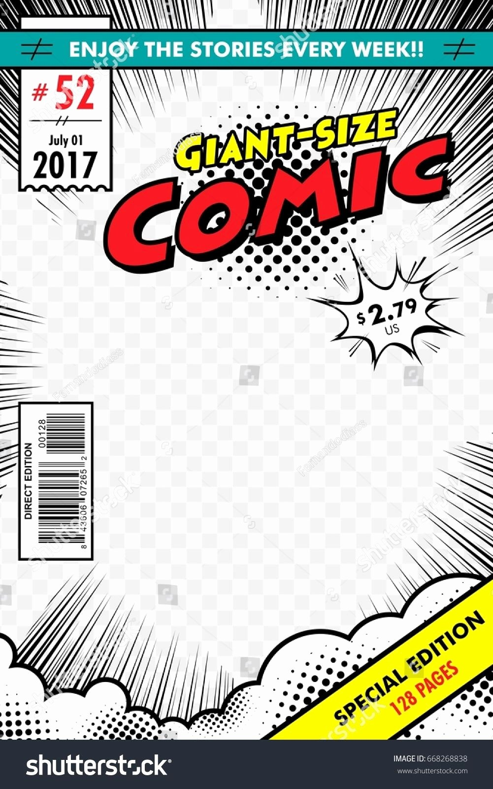 Blank Comic Book Cover Template Fresh Ic Book Cover Giant Size with Transparent Background