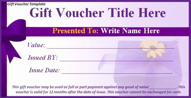 Blank Coupon Template for Word Unique Nice Gift Voucher format Example with Purple Ribbon and