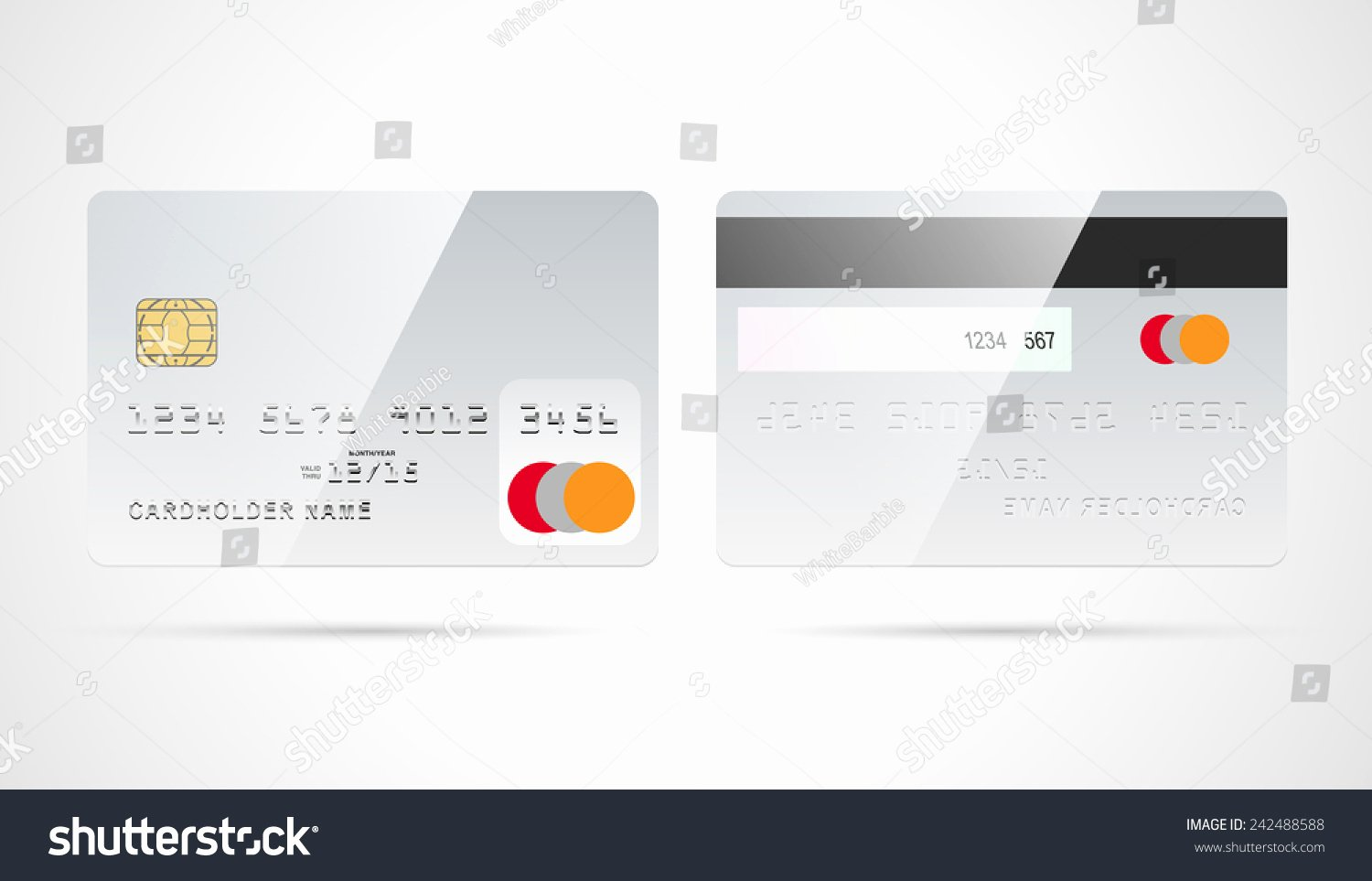 Blank Credit Card Template Elegant Blank Silver Debit Credit Card Template Stock Vector