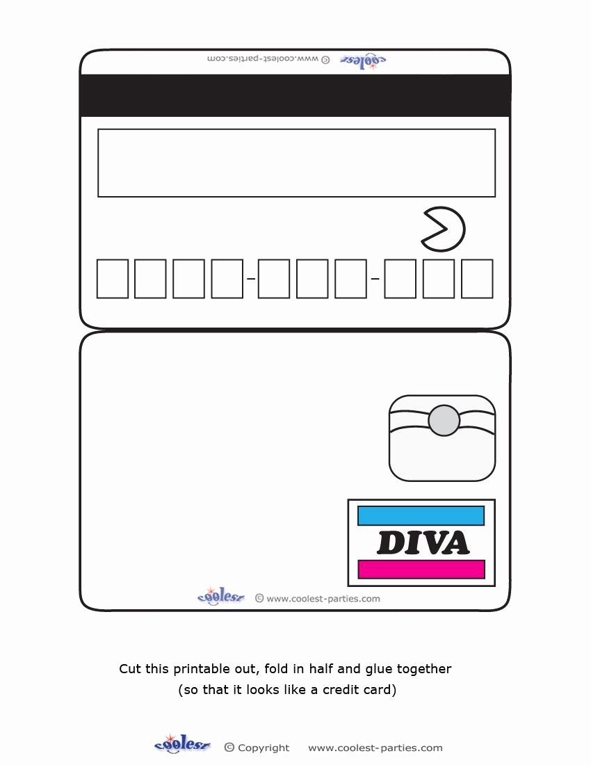 Blank Credit Card Template New Blank Printable Diva Credit Card Invitations Coolest