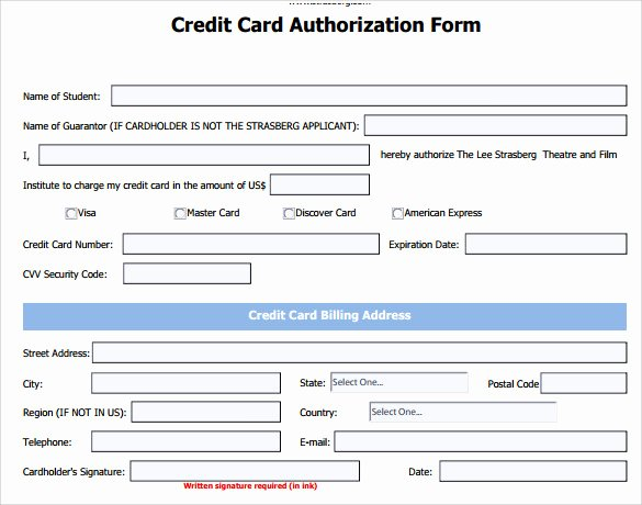 Blank Credit Card Template Unique 7 Credit Card Authorization forms to Download