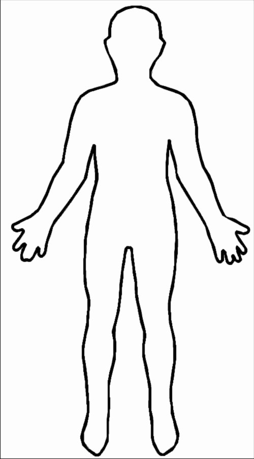 Blank Female Body Template Unique Human Body Outline Sketch for Children Adjectives