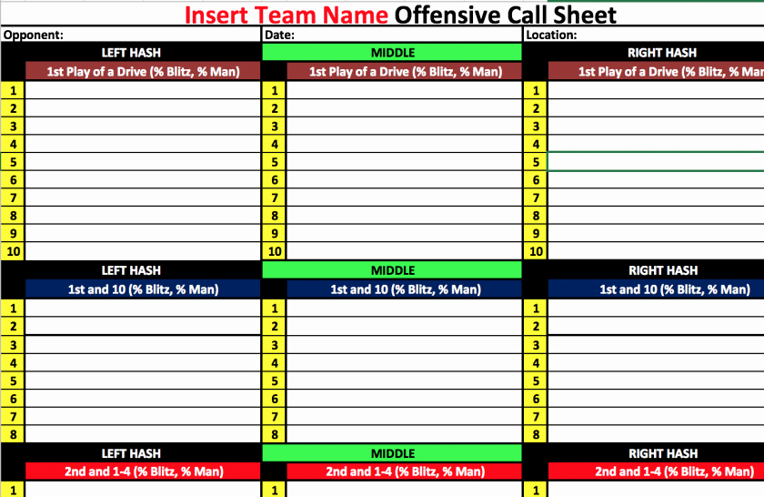Blank Football Play Sheet Template Unique Football Play Sheet Template Pdf Call Blank Basketball