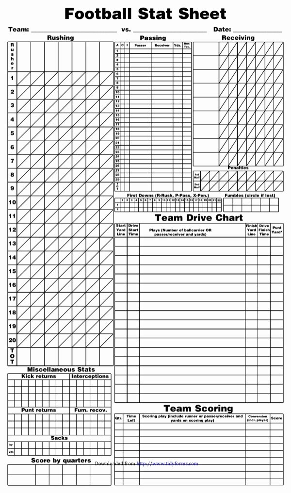 Blank Football Play Sheets Fresh Download Blank Football Scoresheet for Free formtemplate