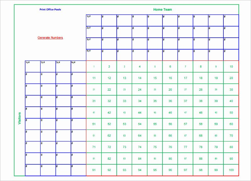 Blank Football Pool Sheets Beautiful 33 Printable Football Square Templates Free Excel Word