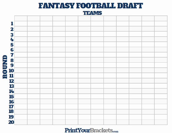 Blank Football Pool Sheets Beautiful Printable Fantasy Football Draft Board Free