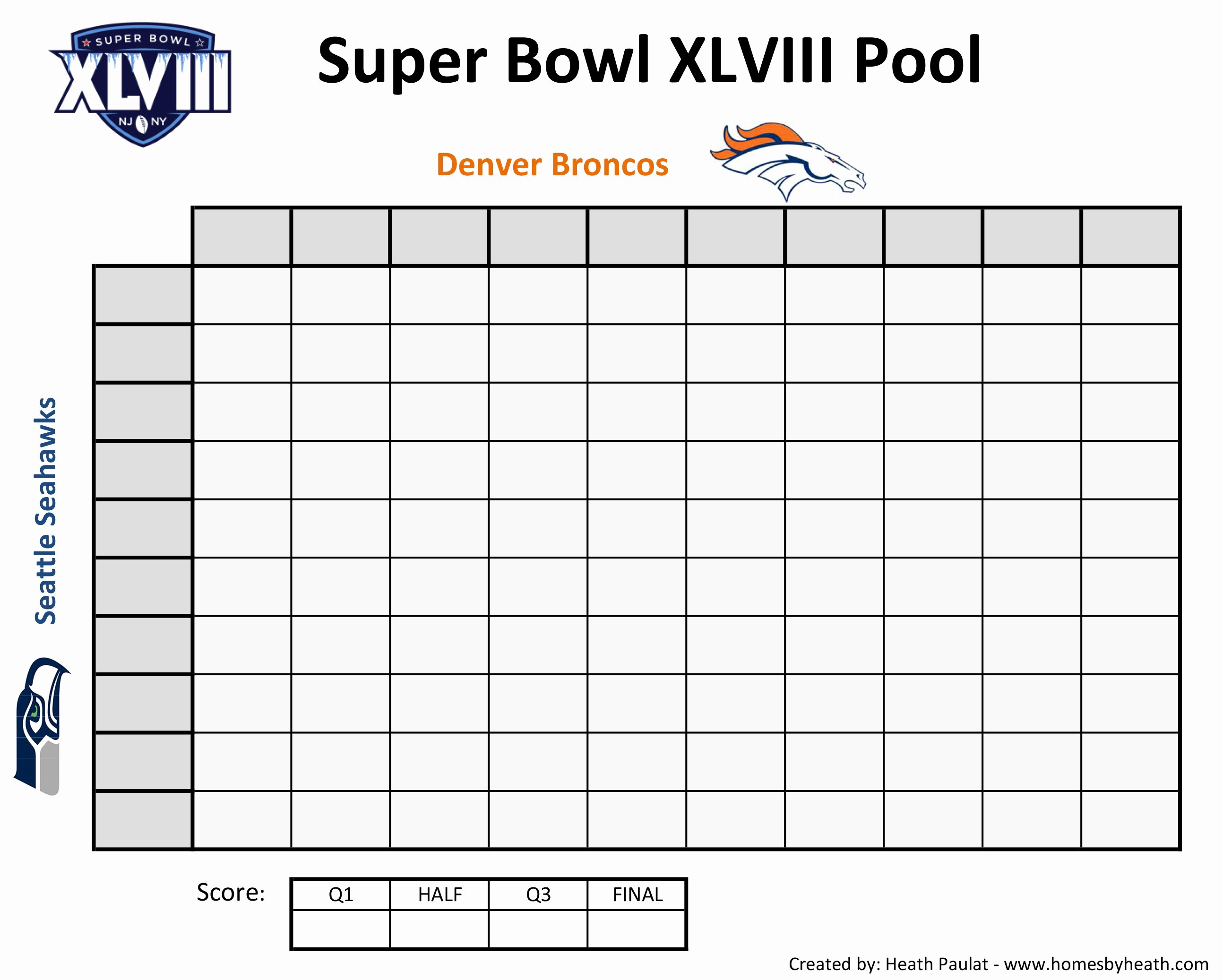 Blank Football Pool Sheets Lovely 8 Best Of Super Bowl Football Squares Printable
