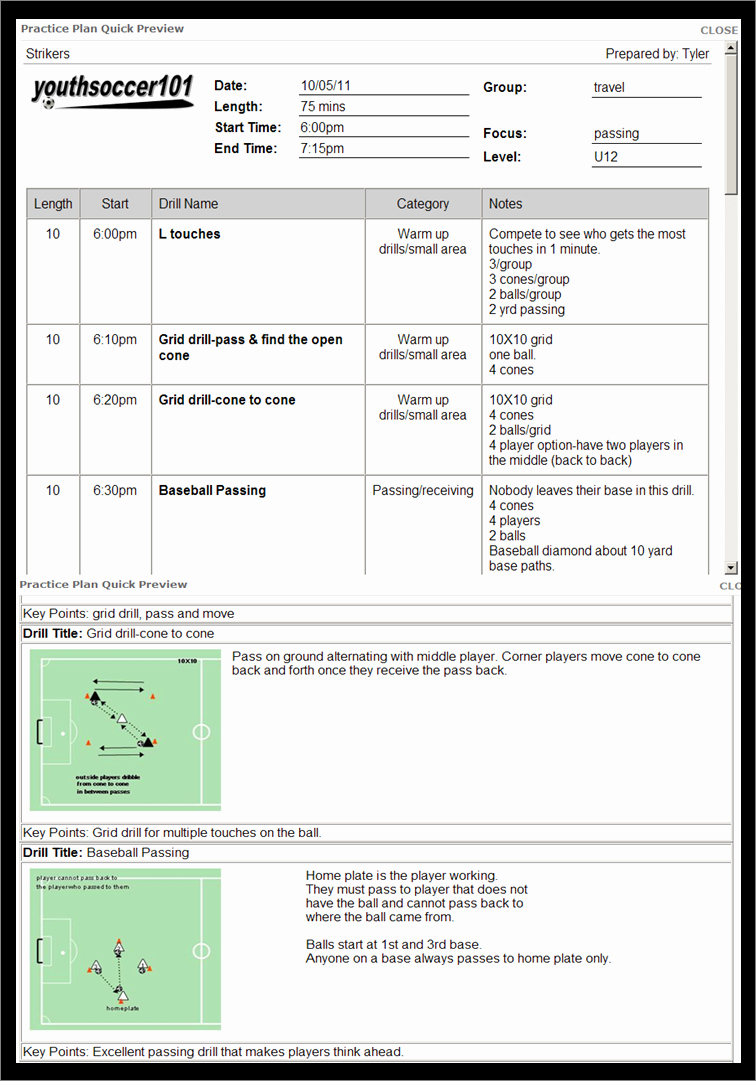Blank Football Practice Plan Template Lovely soccer Practice Planner software Diohili