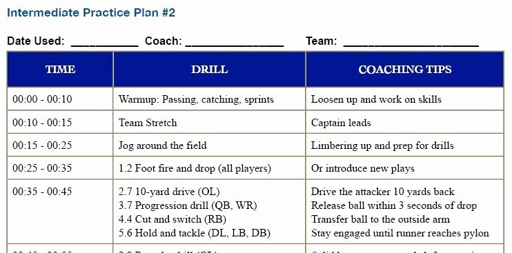 Blank Football Practice Plan Template Unique 28 Of Youth Football Practice Template