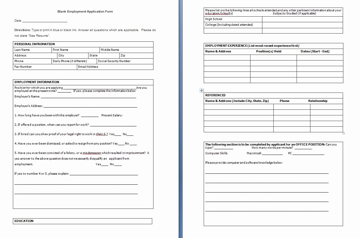 Blank Job Application form Awesome Blank Employment Application form Free formats Excel Word