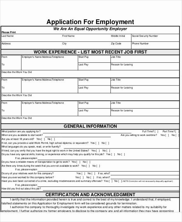 Blank Job Application form Inspirational 57 Application form formats
