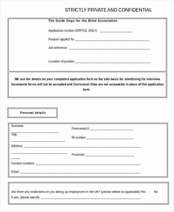 Blank Job Application form Lovely Blank Job Application Word Excel Free & Premium Templates