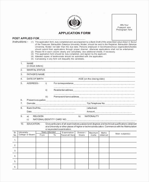 Blank Job Application form Luxury Sample Blank Job Application form 8 Free Documents In Pdf