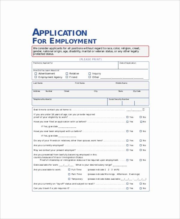 Blank Job Application form Unique 11 Sample Employment Application forms