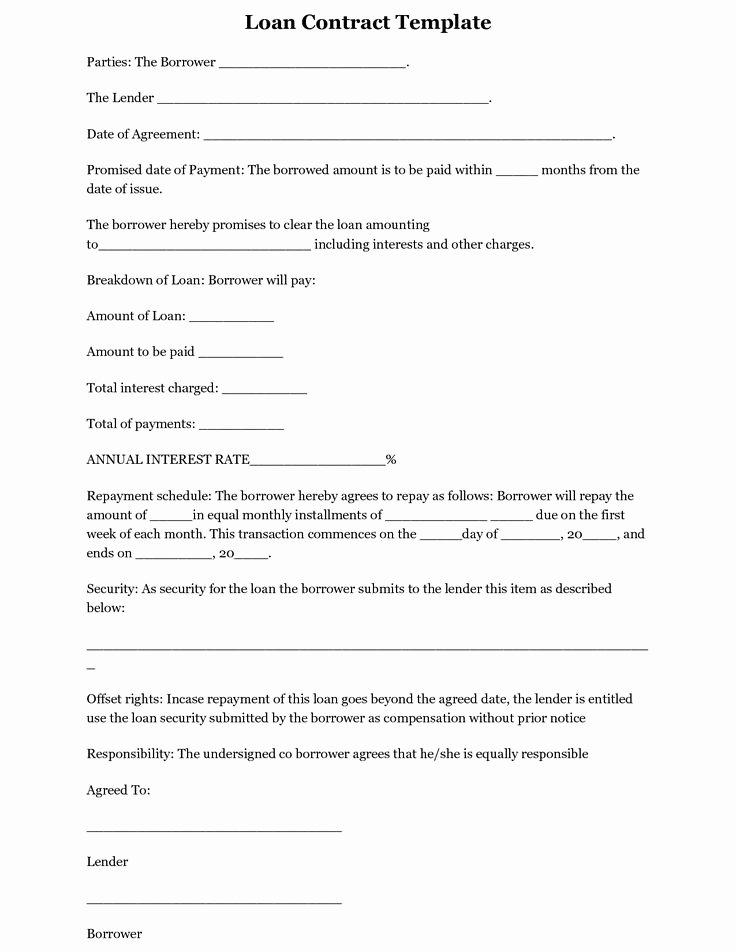 Blank Loan Agreement Fresh Printable Loan Agreement Loan Contract form Sample