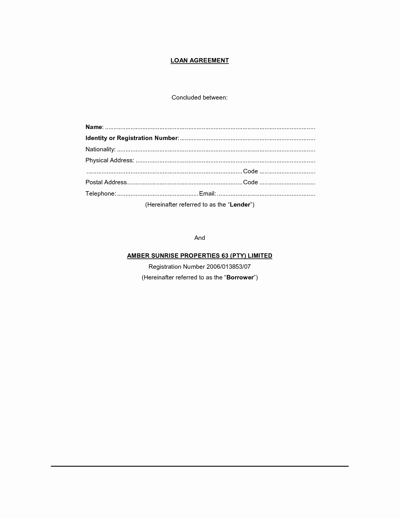 Blank Loan Agreement New Free Printable Loan Contract Template form Generic