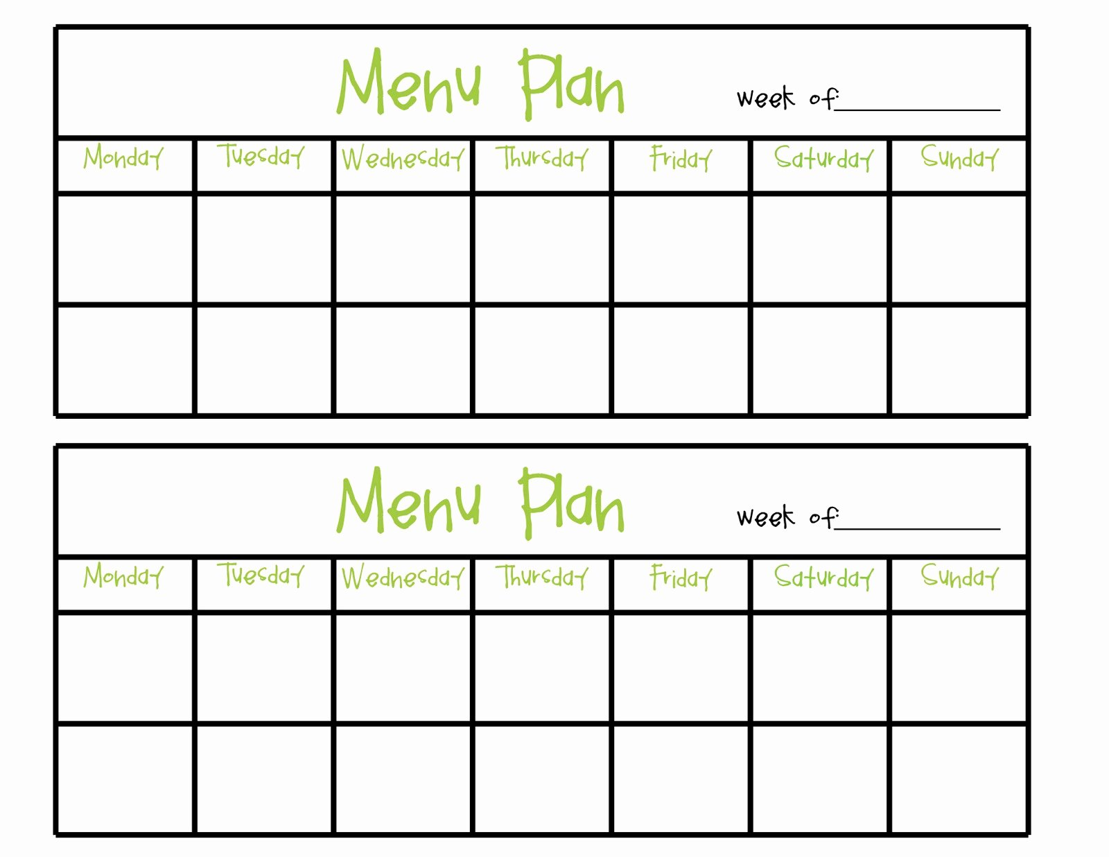 Blank Menu Template Awesome Simply Plicated Menu Planning