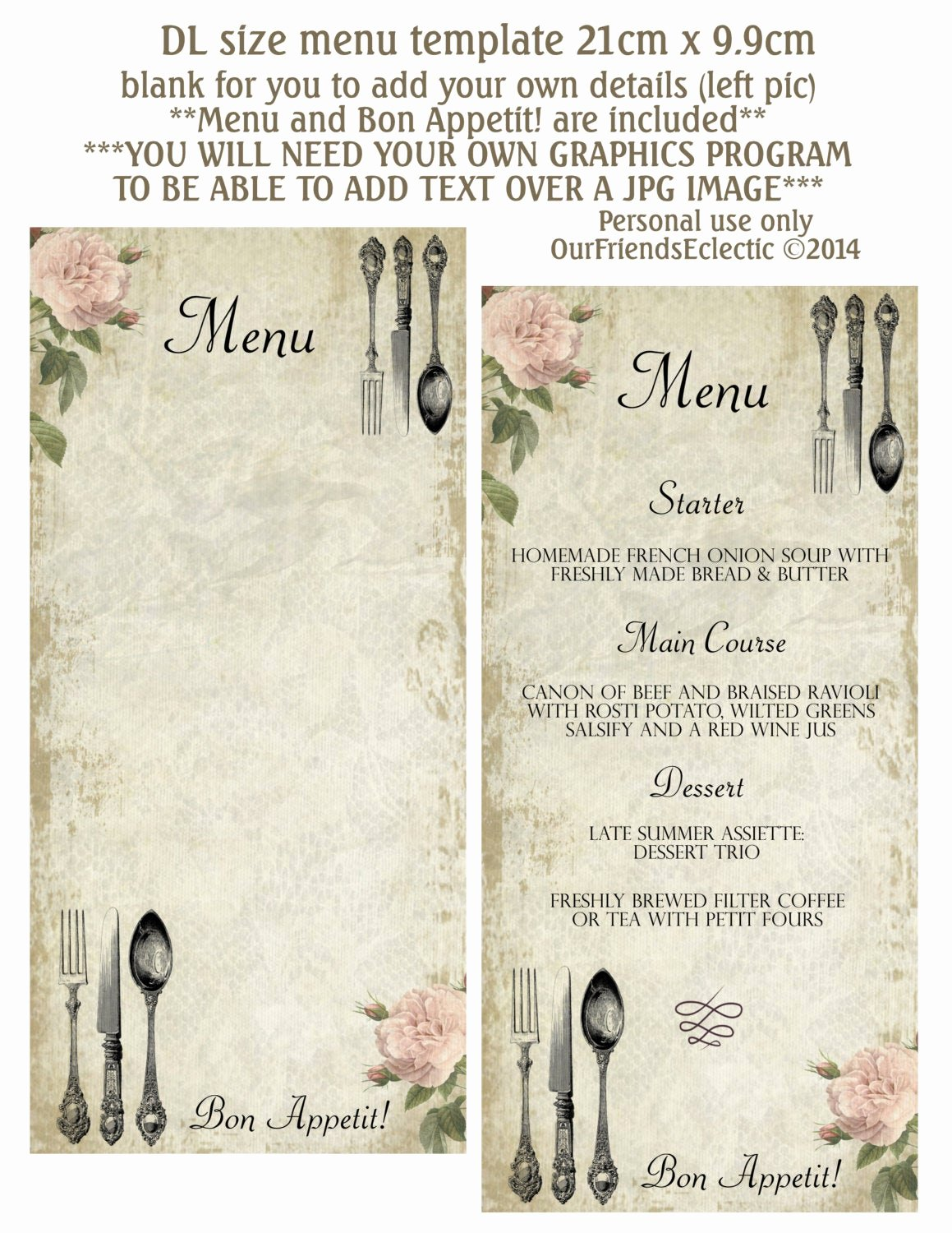 Blank Menu Template Beautiful Printable Menu Blank Menu Shabby Pink Rose Vintage Cutlery