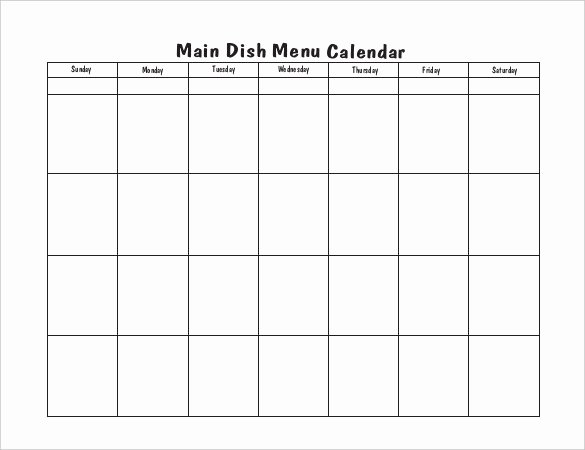 Blank Menu Template Fresh Menu Calendar Templates 10 Printable Pdf Documents