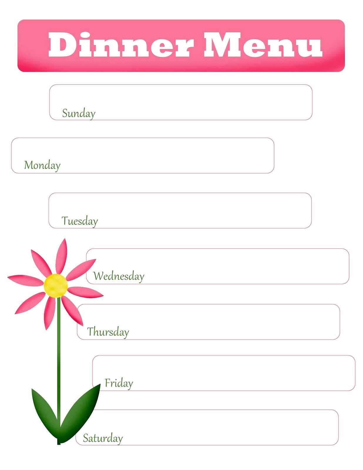 Blank Menu Template Unique Mom S Menu Planning Free Printable Blank Dinner Menu