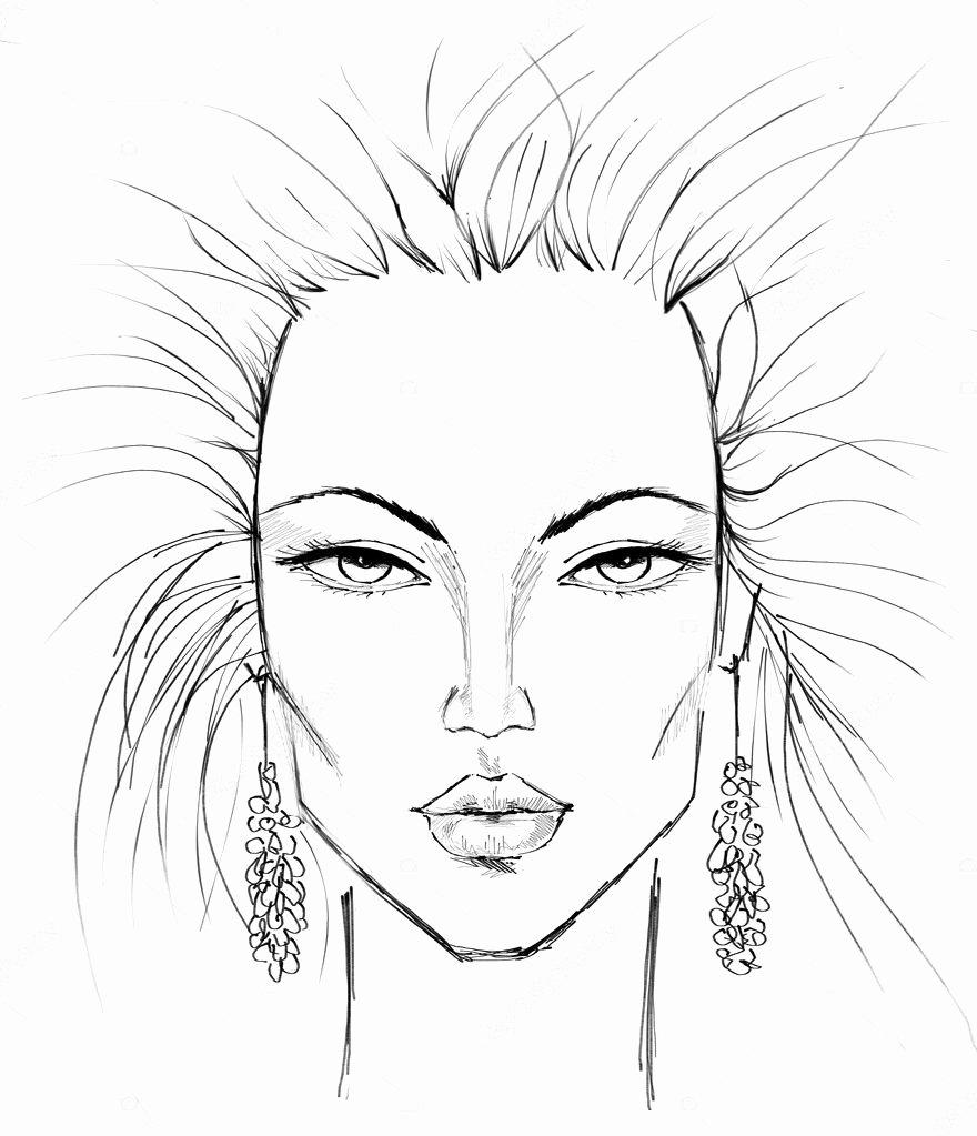 Blank Model Sketch Template Luxury Makijaż Szablon — Zdjęcie Stockowe © Artlover