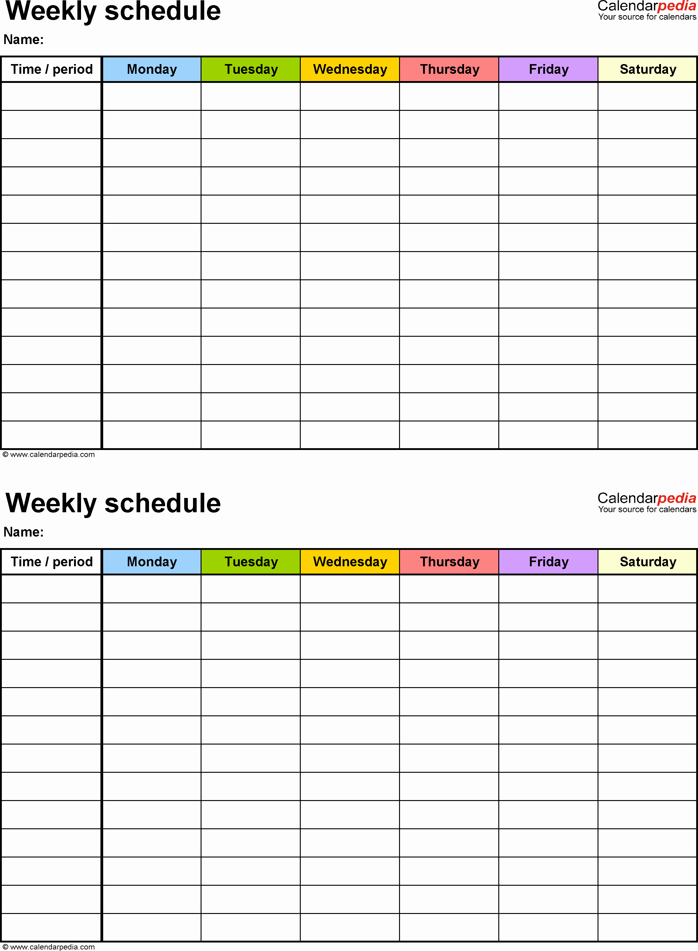 Blank One Week Calendar Awesome Weekly Schedule Template for Word Version 9 2 Schedules