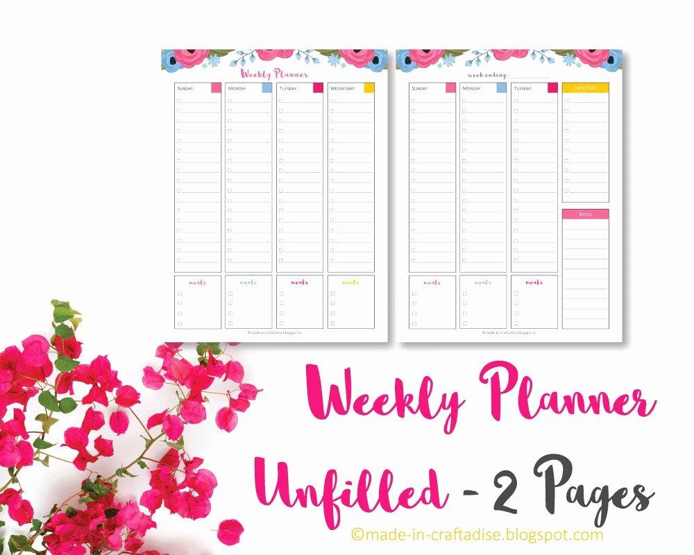 Blank One Week Calendar Beautiful Calendar Any Year Unfilled Blank1 Week 2 Page Spread