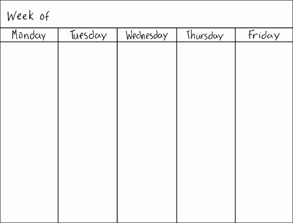 Blank One Week Calendar Elegant 8 Best Of Work Week Calendar Printable Free