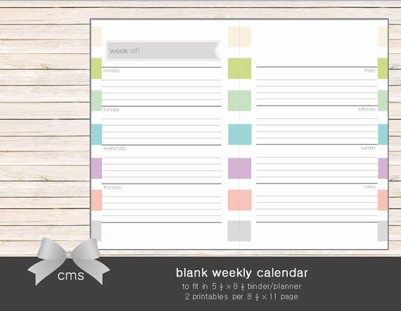 Blank One Week Calendar Lovely Weekly Calendar Blank Week Sheets Printable by Chaosmadesimple