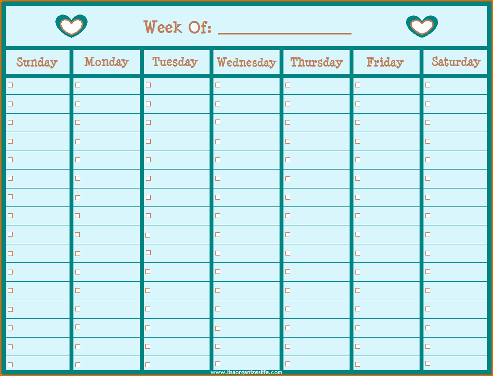 Blank One Week Calendar Luxury 11 Printable Weekly Calendar with Hours
