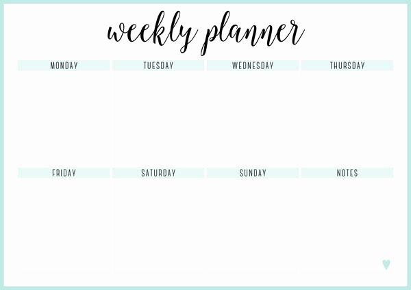 Blank One Week Calendar Luxury Free Printable Weekly Calendar Template