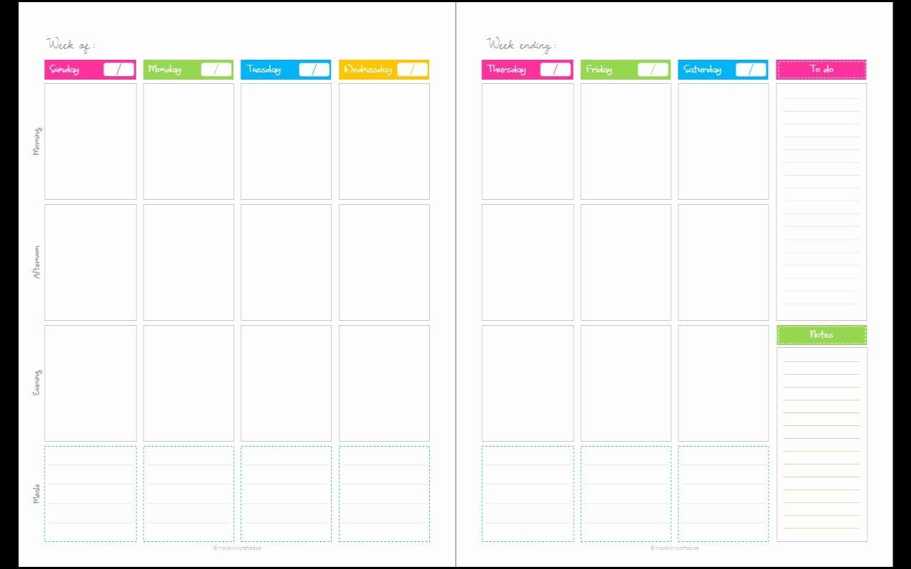 Blank One Week Calendar New Calendar Any Year Unfilled Blank1 Week 2 Page Spread