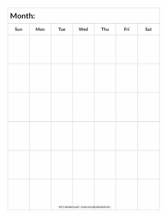 Blank One Week Calendar Unique Blank Calendar 6 Weeks Portrait C