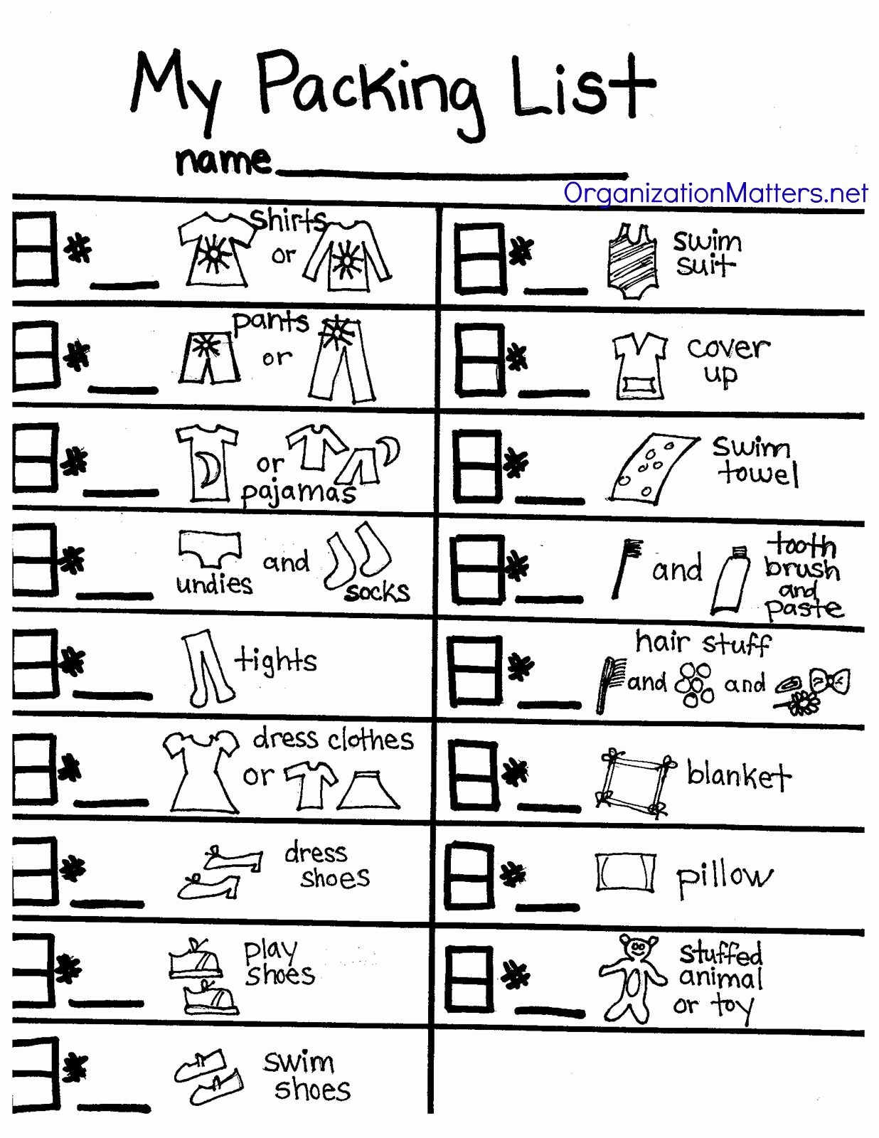 Blank Packing List Best Of A Packing List Just for Kids