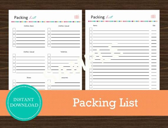 Blank Packing List Inspirational Travel Packing List Travel Planner Printable and Editable