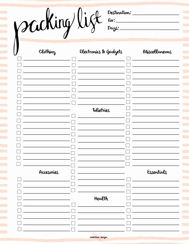 Blank Packing List Luxury Free Printable Packing List