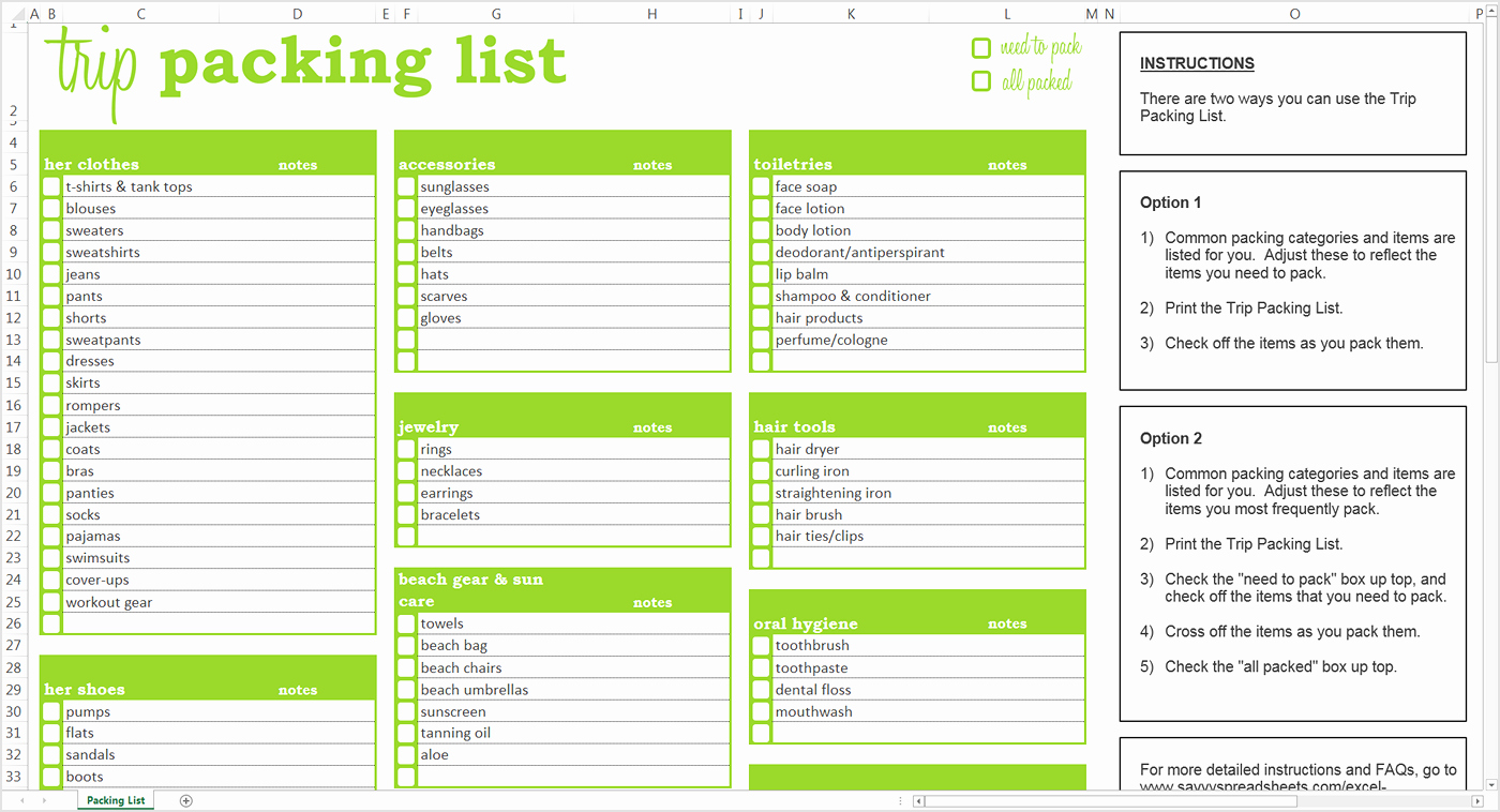 Blank Packing List Template Awesome Packing List Template